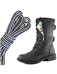 DailyShoes Women's Military Lace Up Buckle Combat Boots Mid Knee High Exclusive Credit Card Pocket, Navy Blue White
