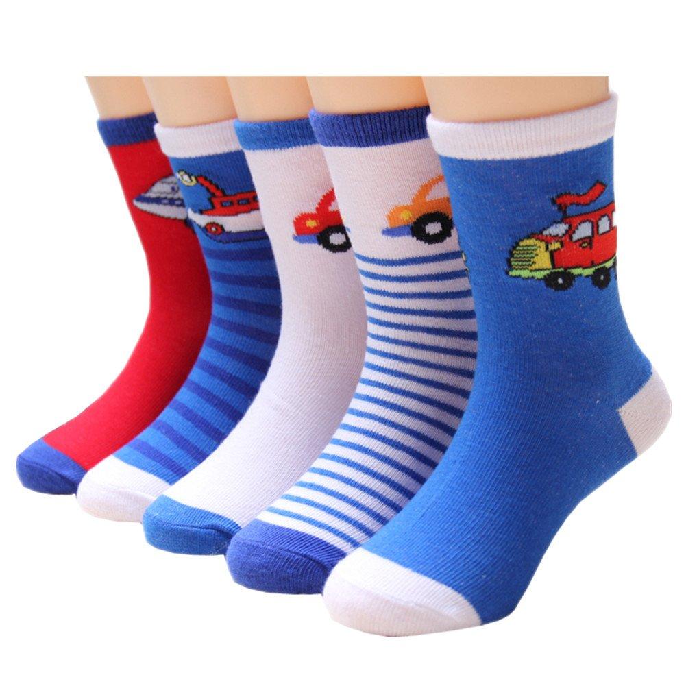 Little Boys Socks Cotton Aircraft Comfort Crew Socks 5 Pair Pack Cczmfeas