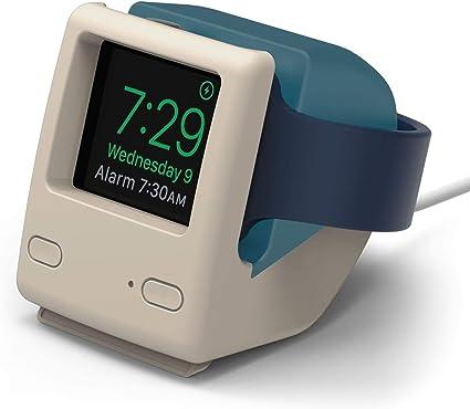 【elago】 Apple Watch 対応 充電 スタンド シリコン 充電ドック アクセサリー ノスタルジック レトロデザイン [ AppleWatch SE & Series6 Series5 Series4 40mm / 44mm & Series3 Series2 series1 38mm / 42mm アップルウォッチ 対応 ] W4 STAND アクアブルー