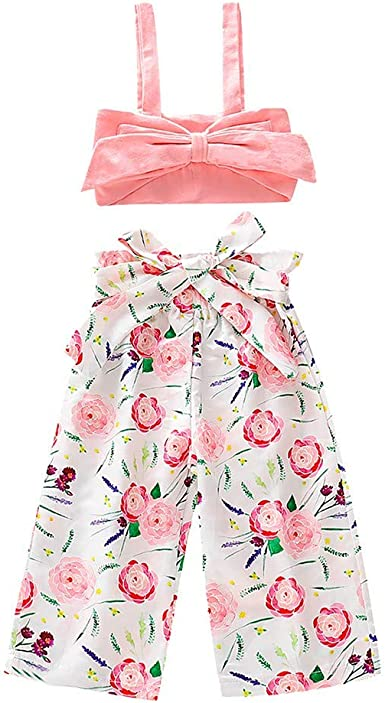Vinjeely Toddler Girls Summer Romper Cute Floral Lace Beading Short Sleeves Ruffle Pants
