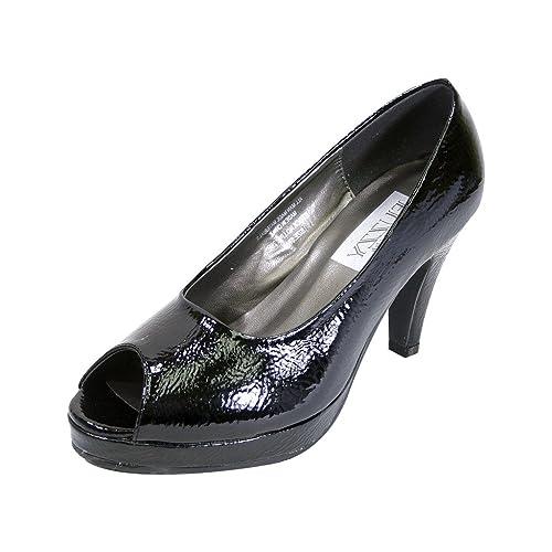 19939a6ca3c Peerage Ruth Women Extra Wide Width Peep Toe Platform Pump Black Patent 6