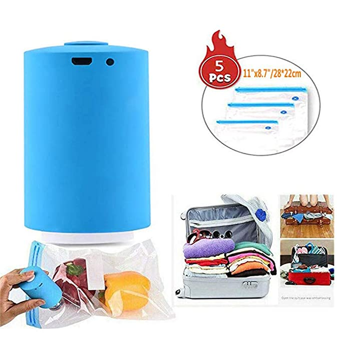 Mini Automatic Compression Vacuum Pump Sealer System Portable Electric Air Pump Rechargeable Multi-Functional Vacuum Pump for Travel (Blue)