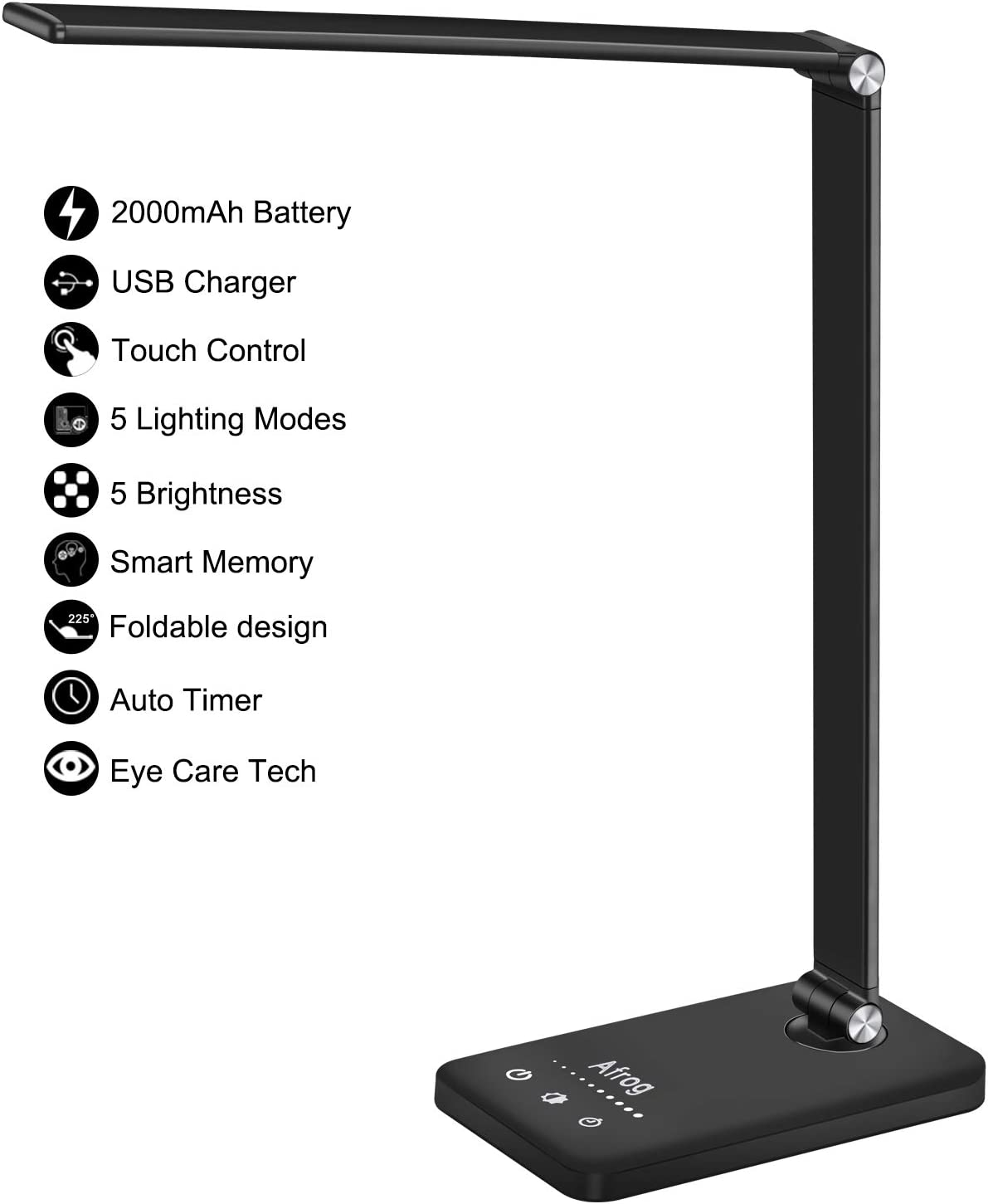 Multifunctional LED Desk Lamp with 2000mAh Battery, USB Charging Port, 5 Lighting Modes,5 Brightness Levels, Sensitive Control, 30/60 min Auto Timer, Eye-Caring Office Lamp with Adapter