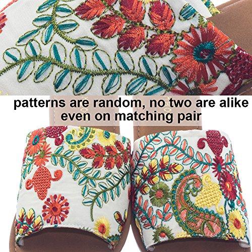 Bambu Bredbandig Platt Glid Sandal W Fast Eller Broderas Blom- Tyg Bambu Beige Embroiderey