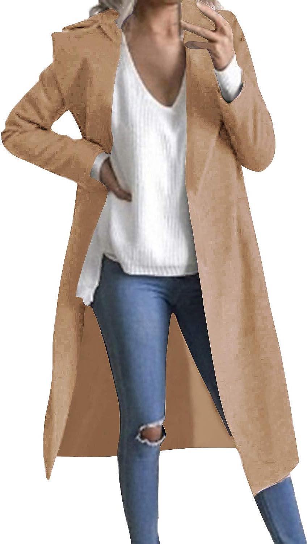 Auxo Women Trench Coat Long Sleeve Pea Coat Lapel Open Front Long Jacket Overcoat Outwear Cardigan: Clothing
