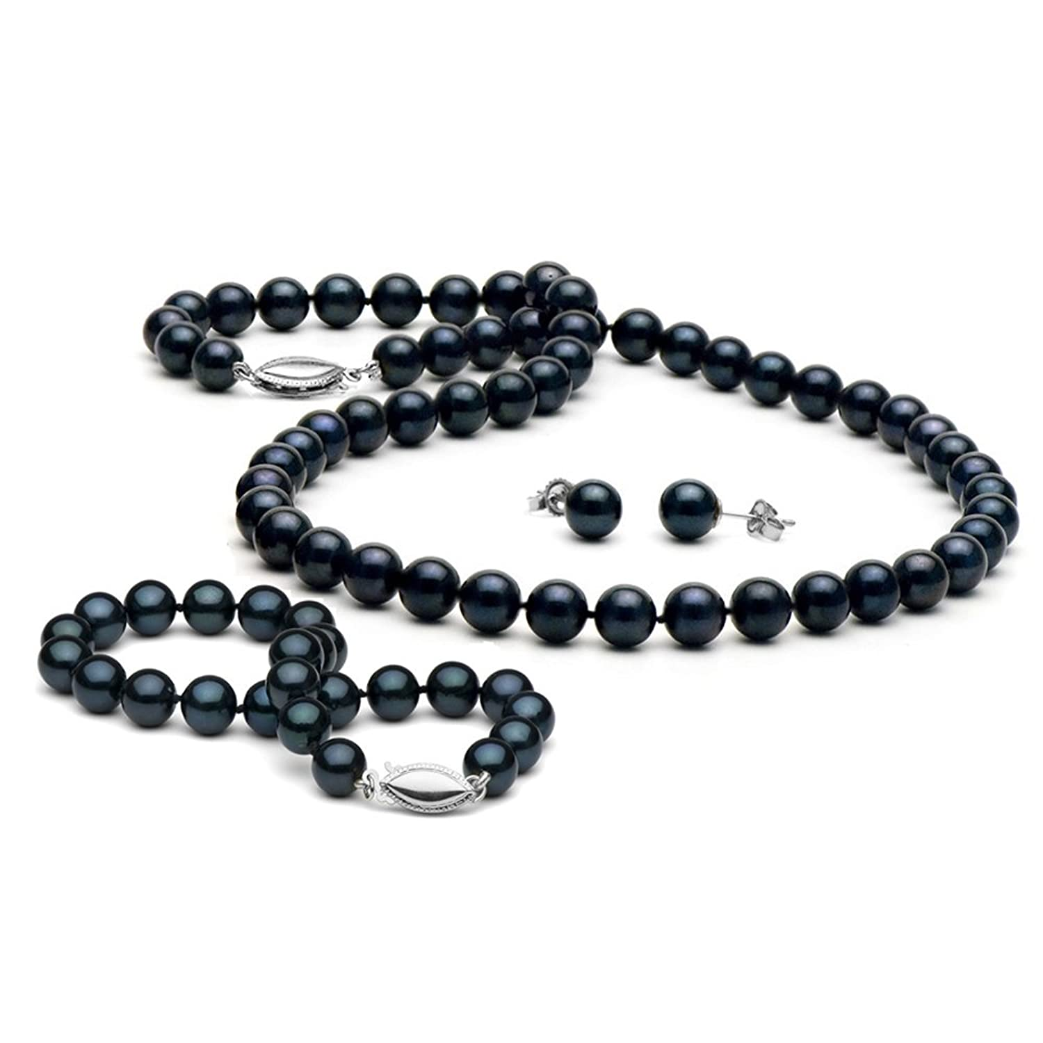 14K Cultured Saltwater Black Akoya Pearl 3-Piece Jewelry Set, 6.5-7.0mm - White Gold Clasps
