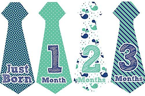 Belly Doodles 16 Necktie Monthly Baby Stickers Nautical
