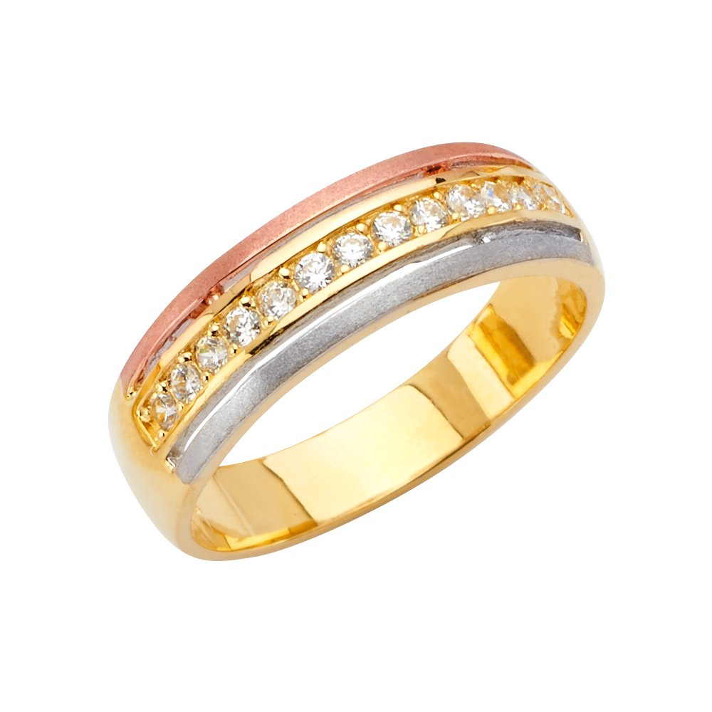 Sonia Jewels 14k Gold Ring Round Cubic Zirconia Mens Anniversary Wedding Band
