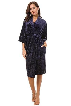 2019 authentic 2019 original outlet sale Women's Kimono Robe Navy Blue Velvet Bathrobe Shawl with Pockets with Belt