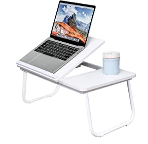 Lap Desk for Bed, Adjustable Laptop Desk with Tilting Top - Fits Up to 15.6in Laptop, Portable Reading Holder & Notebook Stand for Couch Sofa, Foldable Breakfast Bed Tray with Cup Holder(White)