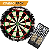 Winmau Blade 5 Bristle Dartboard with 2 Sets of Brass Steel Tip Darts