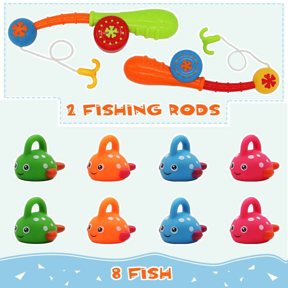 Nuheby Bath Toys Fishing Game Water Play for Paddling Pool and Bath Time with 8 Cute Spotted Fish and 2 Fishing Rods 18 Month Toys