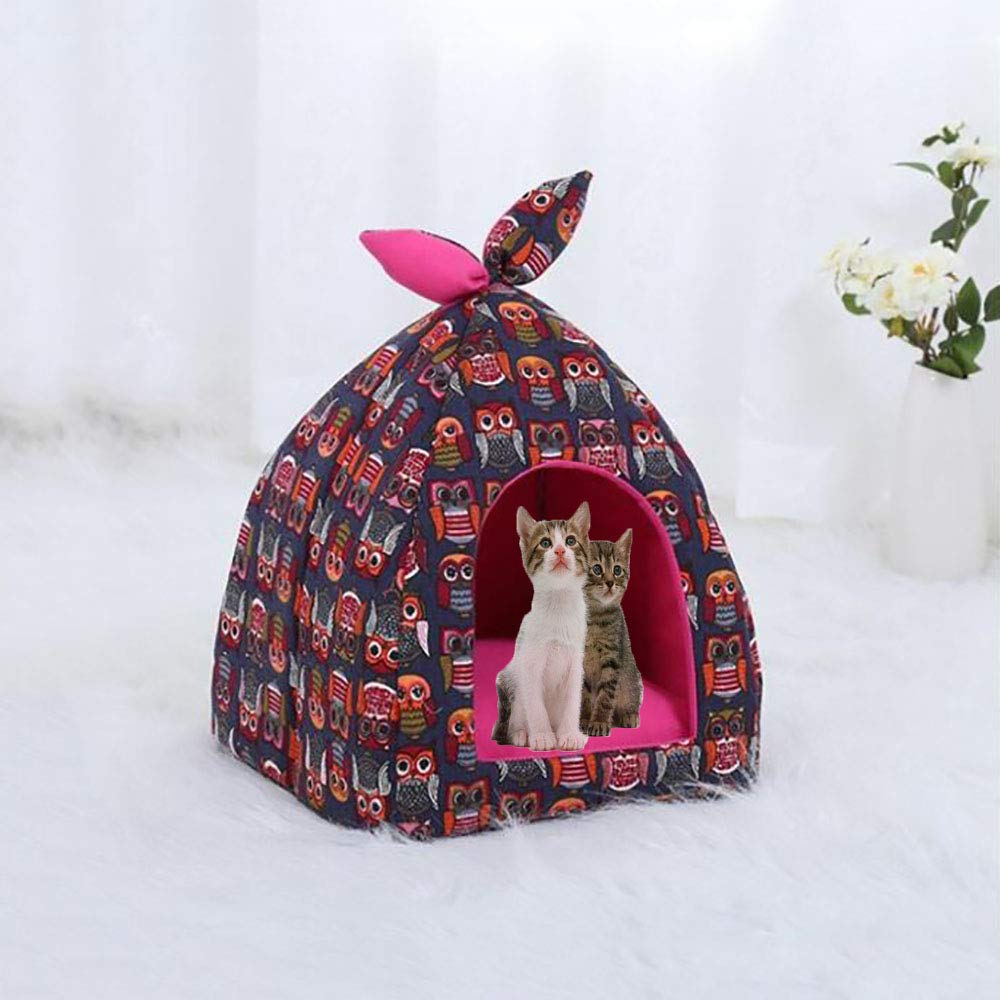 M Foldable Cat Tent, SemiClosed Premium Comfort Pet Beds for Dogs and Cats, with Removable Cushion Pad, Pop up Playhouse Tent (Navy),M