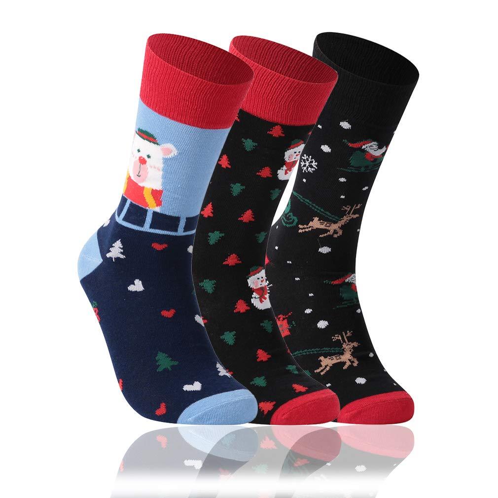3//6 Pairs HZIC Unisex Cute Novelty Cotton Athletic New Year Casual Socks Crew Cartoon Socks