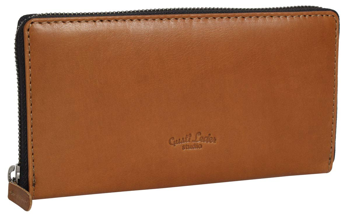 "f07163543e856 Geldbörse Damen Leder Gusti Leder studio ""Cara"" Portemonnaie Brieftasche  Portmonee Ledergeldbörse M Cognac 2A16"