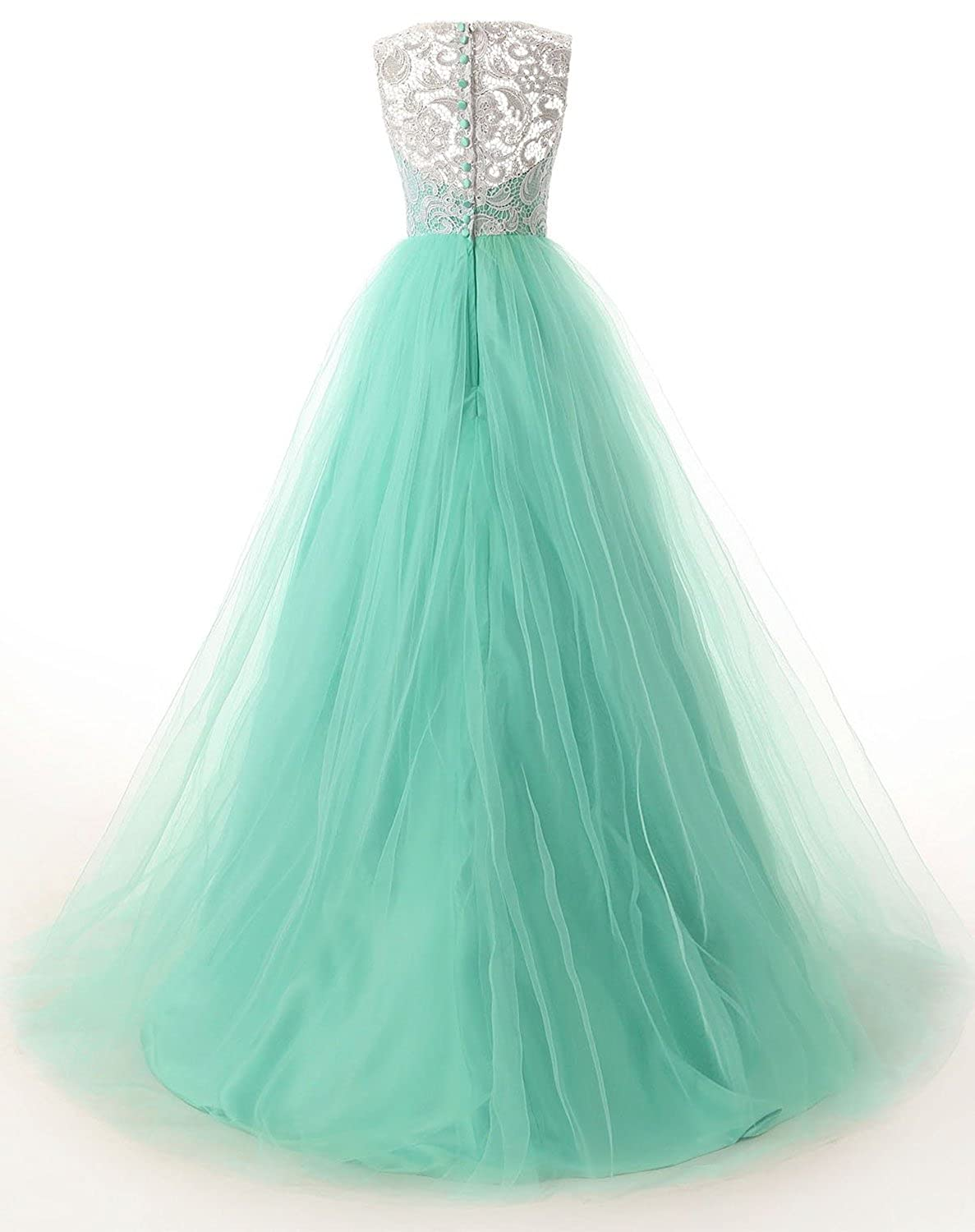 Dressystar Long Prom Dresses Lace Bridesmaid Ball Gowns with Buttons ...
