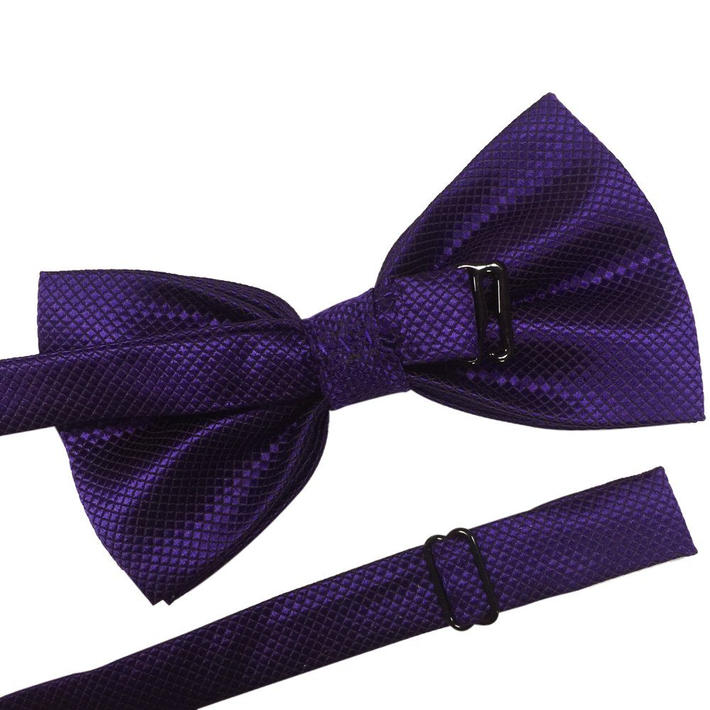 Red Mens Pre-tied Plaid Pattern Formal Bowties Banded Bow Ties