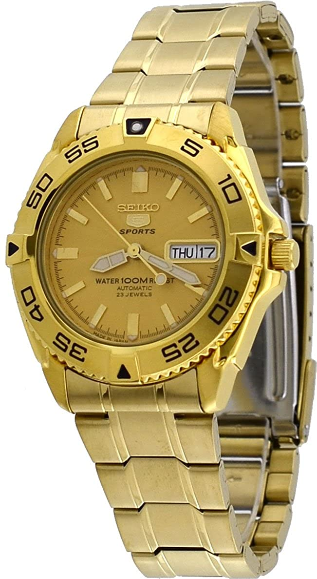 e1b587421 Amazon.com: Seiko 5 Sports #SNZB26J1 Men's Japan Gold Tone Stainless Steel  100M Automatic Dive Watc1 by Seiko Watches: Watches