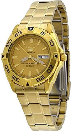 349b91c2e Seiko 5 Sports #SNZB26J1 Men's Japan Gold Tone Stainless Steel 100M  Automatic Dive Watc1 by