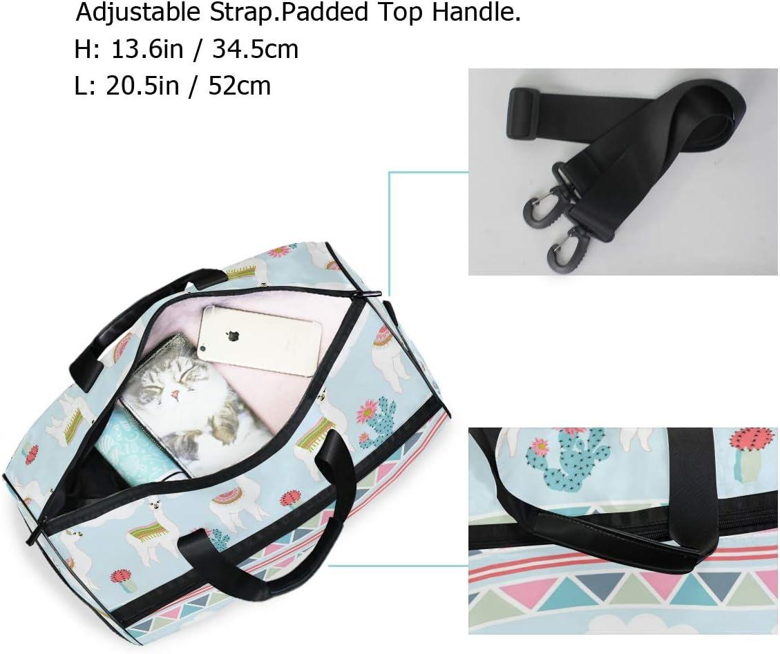 Travel Duffels Cute Llama Castus And Flower Duffle Bag Luggage Sports Gym for Women /& Men