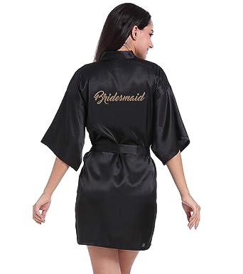 Hammia Vestido de Novia de Satén Robe Mujeres Corto Vestido de Dama de Honor Pijama de ...