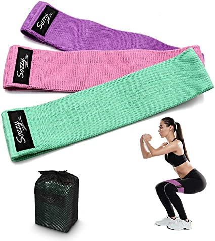 Booty Band Exercise Bands Set for Legs and Butt Training Premium Non-Slip Thicken Fabric Workout Bands Loop Glute Bands with Instruction Guide for Women and Men SHISHUO Resistance Band 3-Pack