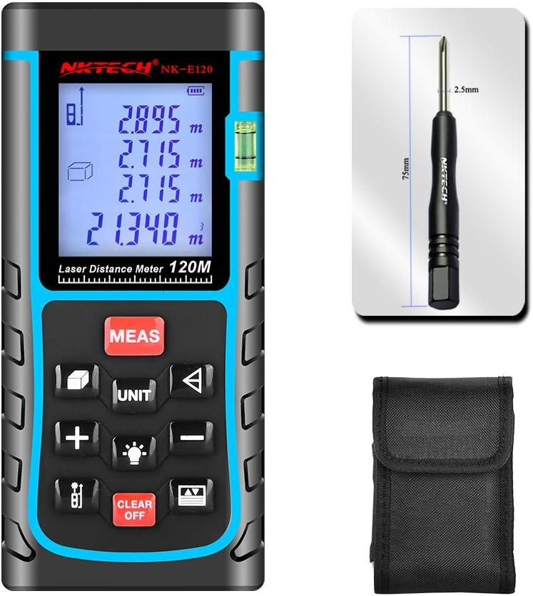NKTECH Laser Distance Meter Laser Rangefinder 40m 60m 80m 100m 120m 150m Range Finder Tools m//in//ft Length Tape Area Volume Angle Measuring IP54 Air Bubble Level NK-E100 328ft