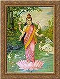 Lakshmi, the goddess of wealth 20x24 Gold Ornate Wood Framed Canvas Art by Ravi Varma, Raja