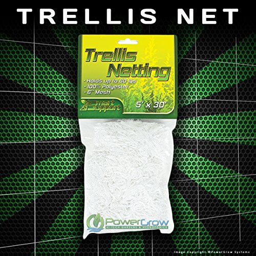 Garden Trellis Netting - 5x15' or 5x30' - Heavy Duty Polyester Garden Net (5x30' Trellis) by PowerGrow Systems
