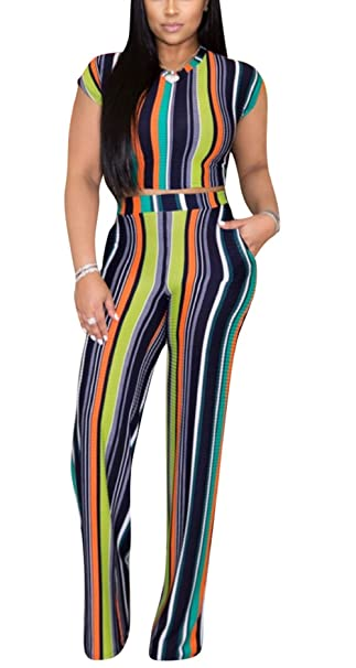dad91dd1261 Women Round Neck Short Sleeve Crop Top High Waist Long Pants 2 Piece  Outfits Casual Set with Pockets