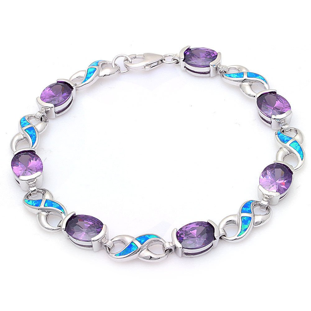 .925 Sterling Silver Oval Simulated Amethyst & Lab Created Blue Opal Infinity Symbol Bracelet 7.5''