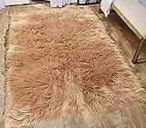 Furry Fluffy Fuzzy Soft Solid Faux Fur Sheepskin Lambskin Sheep Hide Animal Skin Livingroom Bedroom Nursery Room Floor Rug Carpet Area Rug Indoor Mocha Tan Camel 6×9 Large ( Fur Shaggy Mocha )