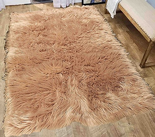 Furry Fluffy Fuzzy Soft Solid Faux Fur Sheepskin Lambskin Sheep Hide Animal Skin Livingroom Bedroom Nursery Room Floor Rug Carpet Area Rug Indoor Mocha Tan Camel 6×9 Large ( Fur Shaggy Mocha )