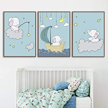 Canvas Pictures For Home Interiors LARGE Wall Art Elephant Baby Shower