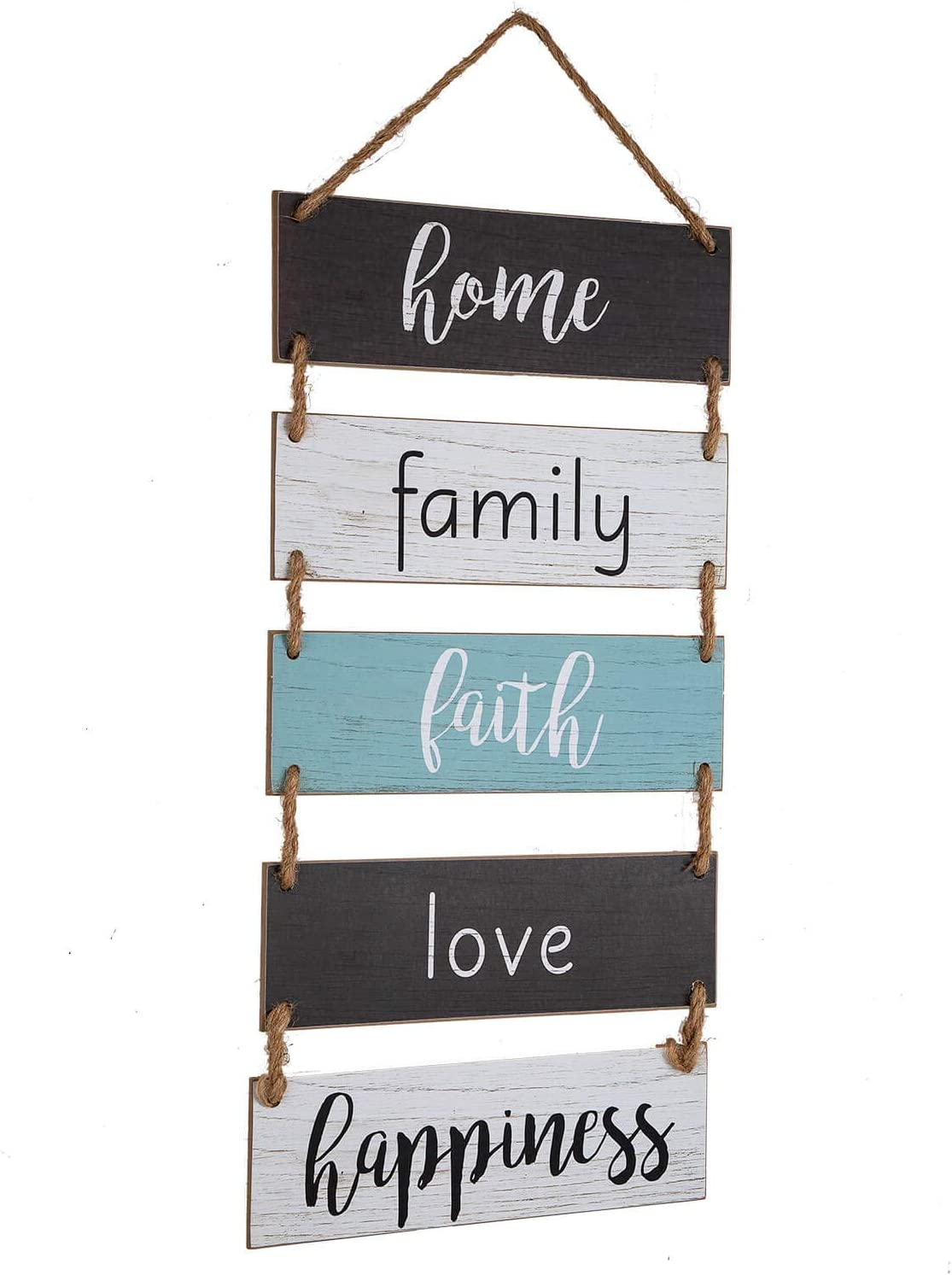 """Yankario Wall Hanging Decor Sign for Living Room Bedroom Bathroom Kitchen Office or more - Rustic Home Decoration Rope Hanging Wooden Sign """"Home Family Faith Love Happiness"""""""