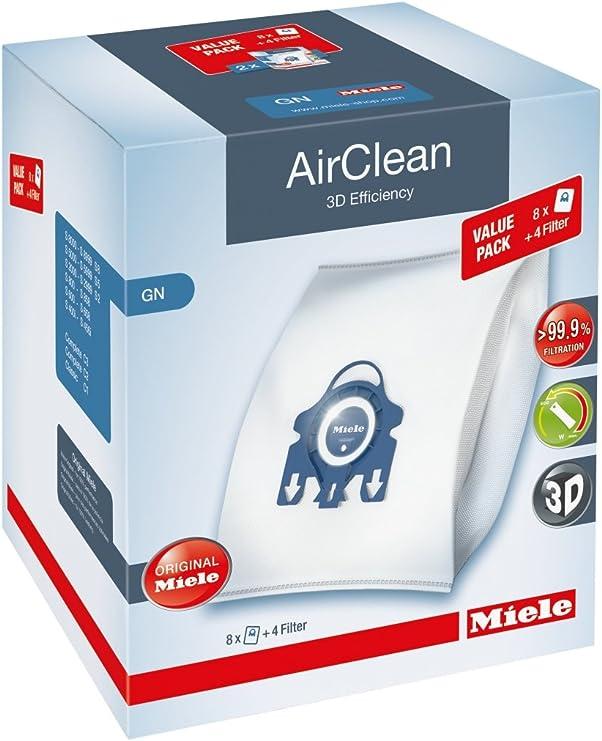 Miele AirClean 3D XL-Pack GN Dust Vacuum Bag, White, 8 Count