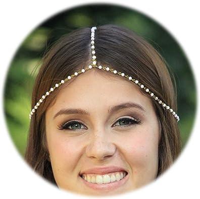 Stirnband Stirnschmuck Kette Haar Kopfkette Haarreifen Faus Perlen Gold
