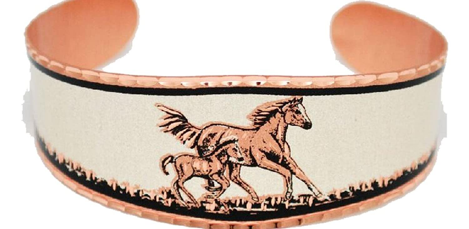 All Copper Whimsical Cuff Bracelet is adorned with a Horse and Colt