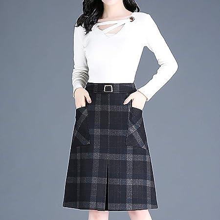 XQ Falda de Lana Mujer, Falda de Invierno de Cintura Alta, Falda a ...