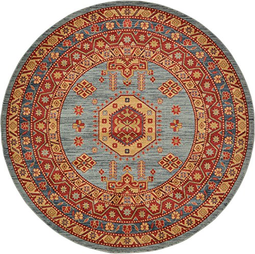 - Unique Loom Sahand Collection Traditional Geometric Classic Light Blue Round Rug (8' 0 x 8' 0)
