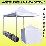 GAZEBO RAPIDO RICHIUDIBILE 3X3 M PIEGHEVOLE A FISARMONICA MERCATO TENDONE CON LATERALI