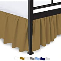 Amazing Bedding Ruffled Split Corner Bed Skirt with Platform, Premium Ultra Soft Microfiber - Easy Fit Gathered Style 3 Sided Coverage Dust Ruffle Diffrent Drop Size