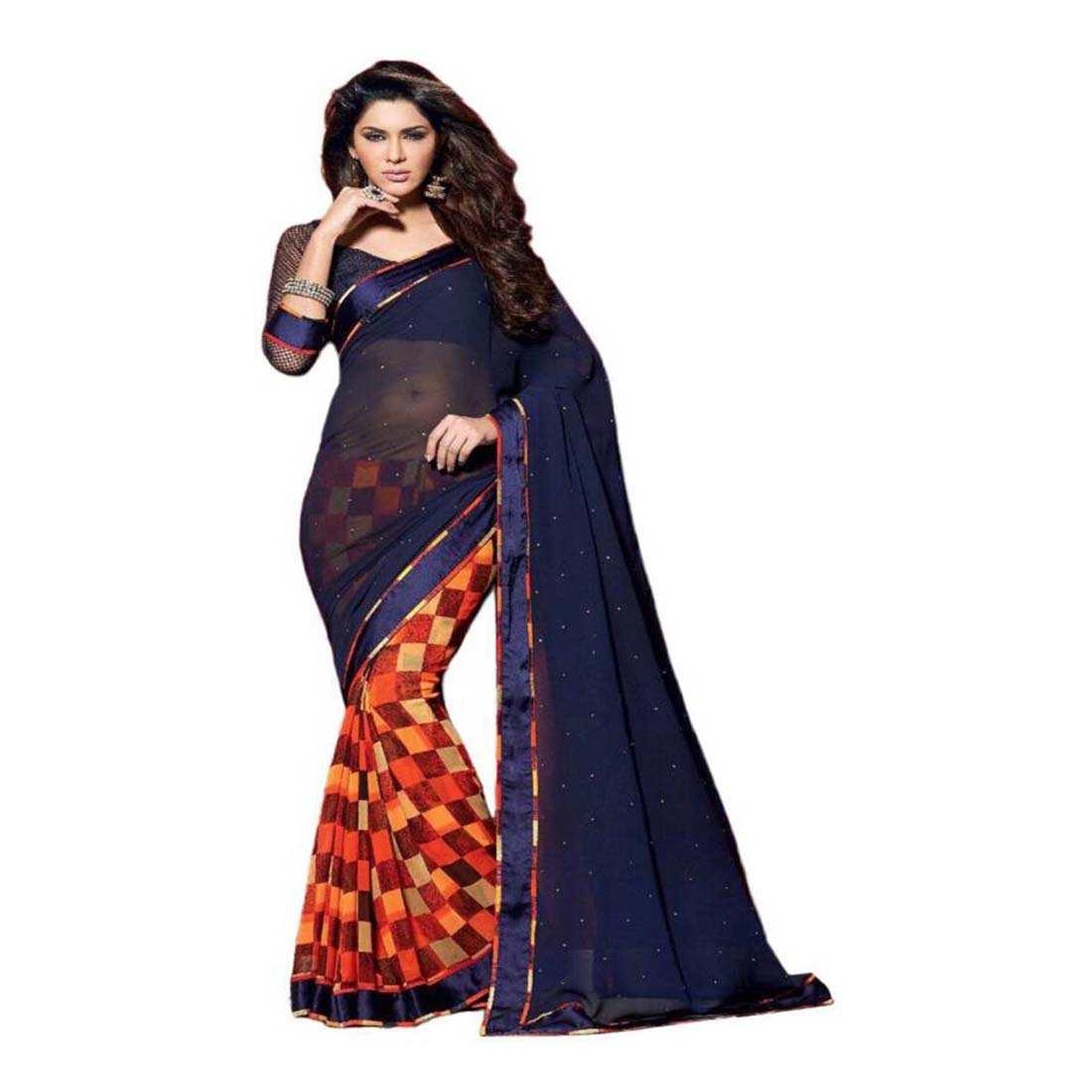 Striped Daily Wear Georgette Saree (Blue) Indian Handicrfats Export FKSAR-01236