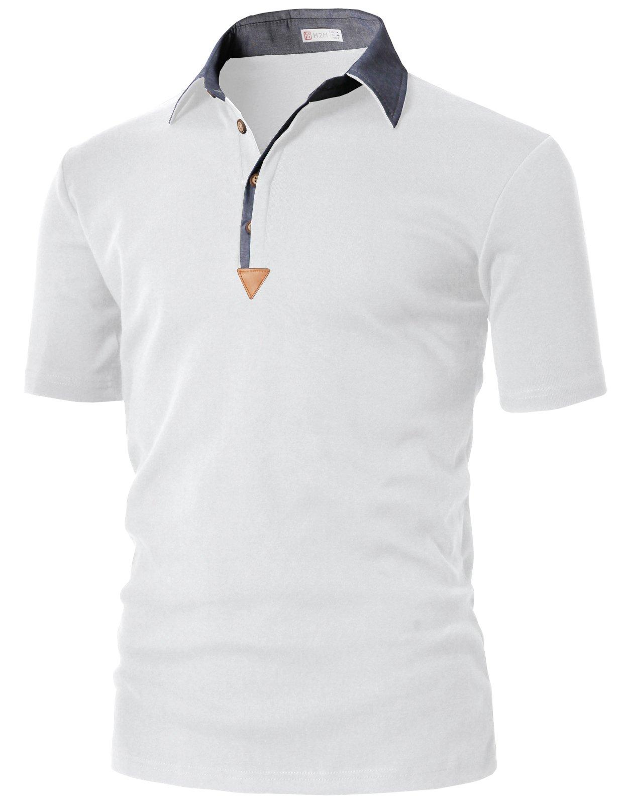 d6322138 Galleon - H2H Mens Casual Collar Polo Shirts White US 2XL/Asia 3XL  (KMTTS0553)