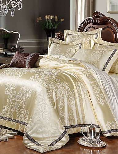 - wwgy Luxury Jacquard Silk Cotton King Queen Size 4pcs Bedding Set Pillowcase Duvet CoverHome Textiles Quilt Cover Flat Sheet , king