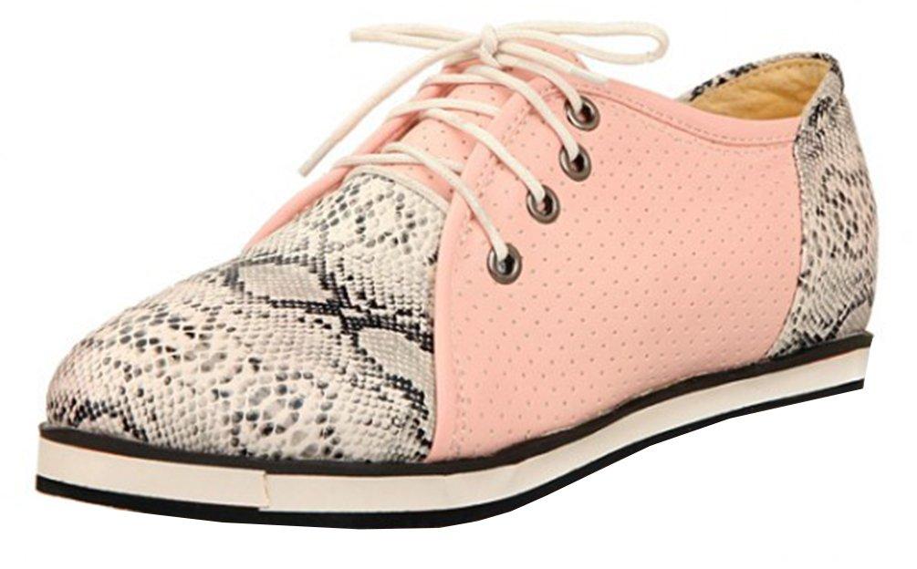 SHOWHOW Damen Luftig Flach Schlangen-Muster Freizeitschuh Sneakers Pink 42 EU guWRmSk