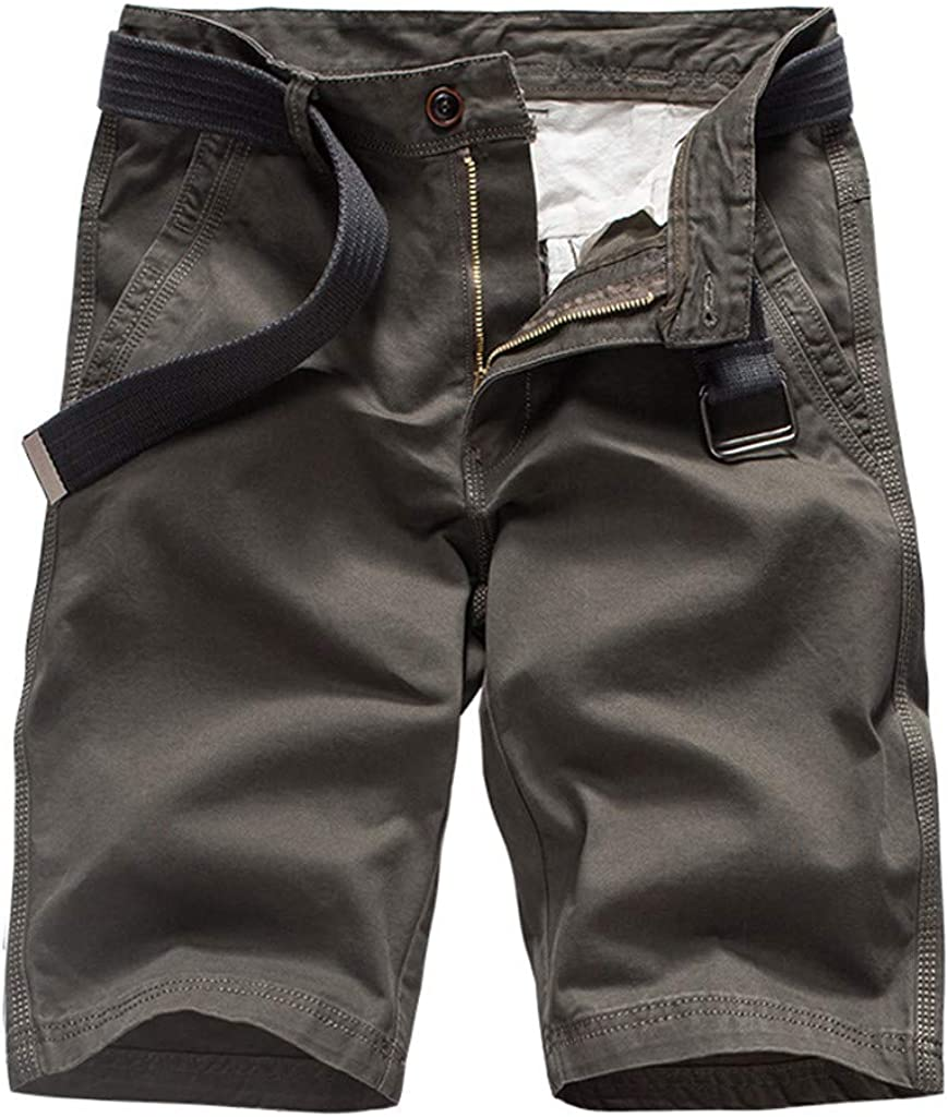 yoyorule Casual Pants Mens New Summer Outdoors Casual Loose Pure Color Cotton Overalls Shorts Pants