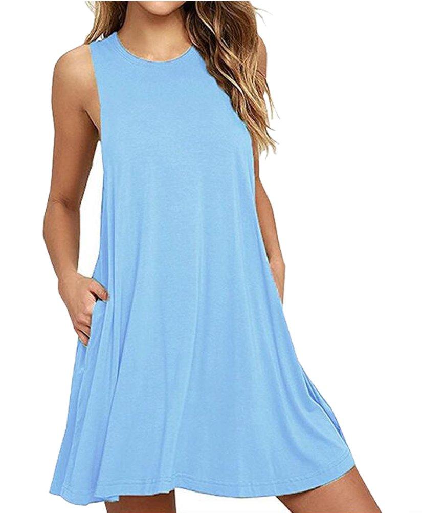 Loose Casual Summer Dresses for Women Vest Tank Dress Beach Bikini Cover up Plain Blue Size A