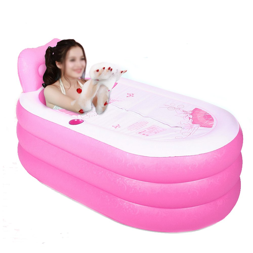Portable Foldable Adult SPA Inflatable Bathtub Free Standing Bath Tub with Electric Air Pump (Pink) by MOON A