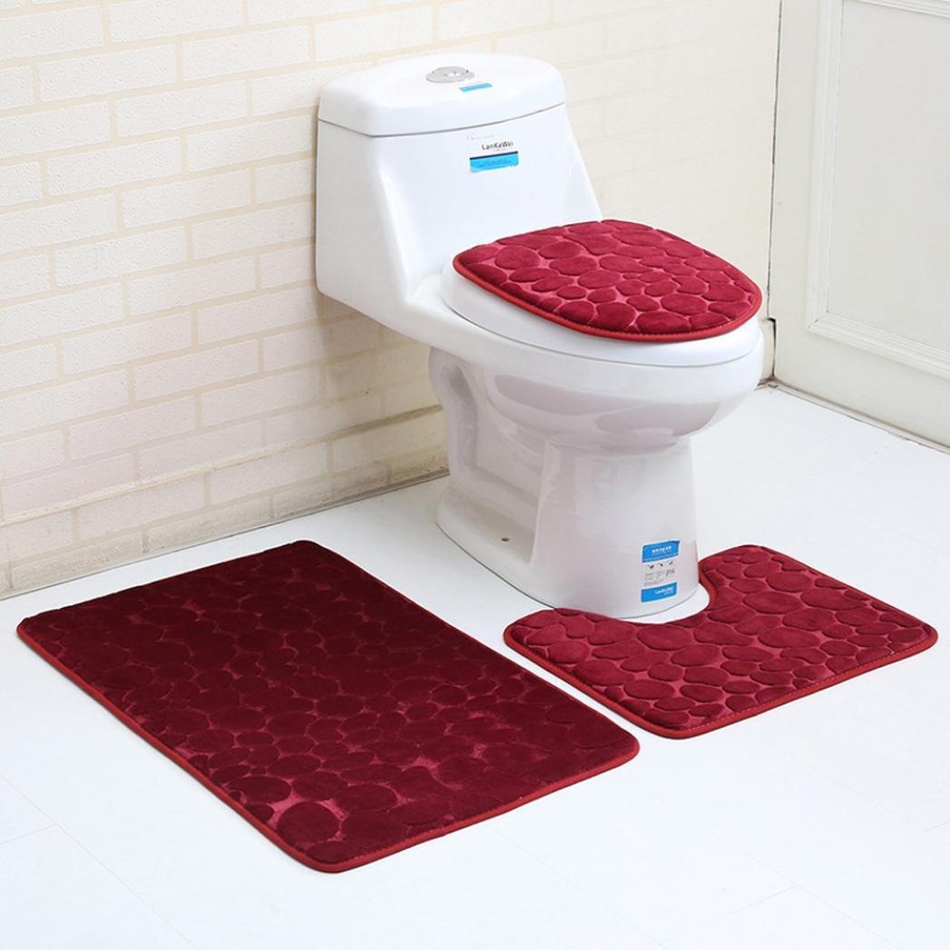 HLHN 3D Toilet Seat Cover, Soft Warmer Washable Closestool Mat Lid Pad Rug Contour Bath Mats Bathroom Protector 3PC (A)